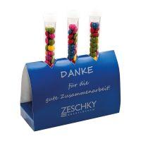 16 g farbige Schoko-Linsen im Reagenzglas mit Werbedruck Bild 5
