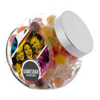 2 Liter Schräghalsglas befüllt mit Lollies und mit Werbeetikett Bild 1