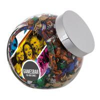 2 Liter Schräghalsglas befüllt mit Metallic Sweets und mit Werbeetikett Bild 1