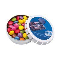 20 g farbige Schoko-Linsen in Springdeckeldose mit Werbedruck Bild 2