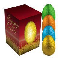 25 g farbiges Stanniol-Osterei in Sichtfensterkartonage mit Werbedruck Bild 1