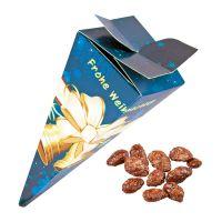 30 g Bio feuergebrannte Mandeln in Logo-Pyramide mit Werbedruck Bild 1