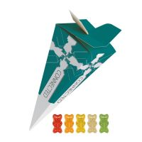 30 g Bio Gummibärchen mit Gelatine in Präsent-Pyramide mit Werbedruck Bild 1
