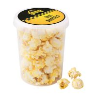 30 g süßes Popcorn im transparenten Becher mit Werbe-Etikett Bild 1