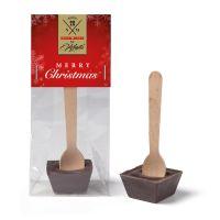 30 g Trinkschokolade am Holzlöffel mit Werbereiter und Logodruck Bild 1