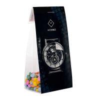 50 g mini Schokolinsen im Standbeutel mit Werbereiter Bild 1