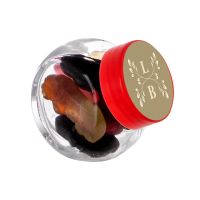 50 ml Schräghalsglas befüllt mit Lakritze in PKW-Form und mit Werbeetikett Bild 4