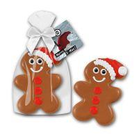 55 g Lebkuchenmann mit Mütze Cookie in Glanzbeutel mit Werbekarte Bild 1