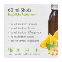 60 ml Vitamin-Shot Orange-Ingwer in Glasfläschchen mit Werbeetikett Bild 2