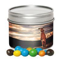70 g Bunte Schoko Erdnüsse in Oster Sichtfenster-Dose mit Werbe-Etikett Bild 1