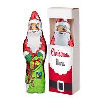 75 g Bio Schoko Weihnachtsmann in Sichtfenster-Faltschachtel mit Logodruck Bild 1