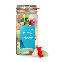 760 g Süßigkeitenglas Home Office mit Werbeetikett Bild 1