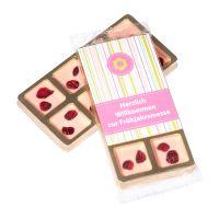 8 Mini-Gourmetschokolade im Goldblister mit Werbeetikett Bild 2