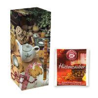 Adventskalender Teekanne Weihnachtstee Hüttenzauber mit Werbedruck Bild 1