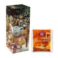 Adventskalender Teekanne Weihnachtstee Kaminabend mit Werbedruck Bild 1