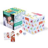 Adventskalener Cube Kugeln und Weihnachtsmann mit Logodruck Bild 2