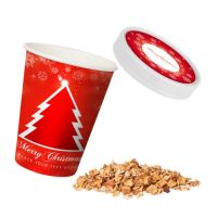 Bio Crunchy Weihnachtsmüsli Apfel-Zimt im Snackbecher mit Logodruck Bild 1