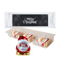 Bio Schoko Weihnachtsmänner im Tray mit Werbe-Etikett mit Werbedruck Bild 1