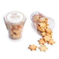 Butterkeks-Sterne im Klarsichtbecher und Werbe-Etikett Bild 1