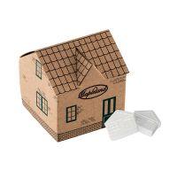Haus aus Kraftpapier mit Pfefferminz in Hausform und mit Werbedruck Bild 1
