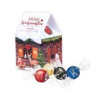 Individuelles Weihnachtshaus Lindor Pralinés mit Werbedruck Bild 1