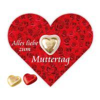 Lindt Herz auf Schokokarte in Herzform mit Werbebedruckung Bild 1