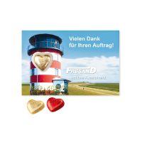 Lindt Herz auf Schokokarte mit Werbebedruckung Bild 2