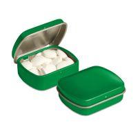 Micro Klappdeckeldose mit Pfefferminzpastillen und Logodruck Bild 4