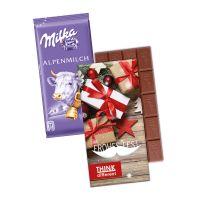Milka Schokoladentafel in einem Werbekarton mit Logodruck Bild 1