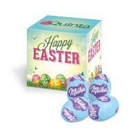 Oster-Werbewürfel mit Milka Schoko-Eier und Logodruck Bild 1