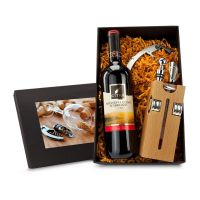 Präsent Buche-Block mit Wein Bild 1