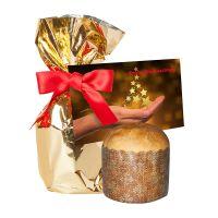 Rosinen Panettone in Gold-Folie mit Werbekarte und Werbedruck Bild 1