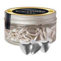 Schoko-Herzen mit Silberglasur in Sweet Dose mit Werbe-Etikett Bild 1