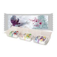 Schoko Schneemänner im Tray mit Werbe-Etikett und Werbedruck Bild 1