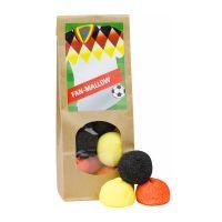 Standbeutel Marshmallow in Länderfarben mit Werbeetikett Bild 2