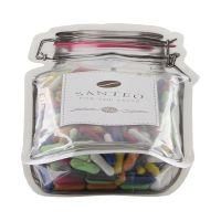 Süße Schulkreide im Maxi-Beutel in Weckglas-Form mit Werbeetikett Bild 2
