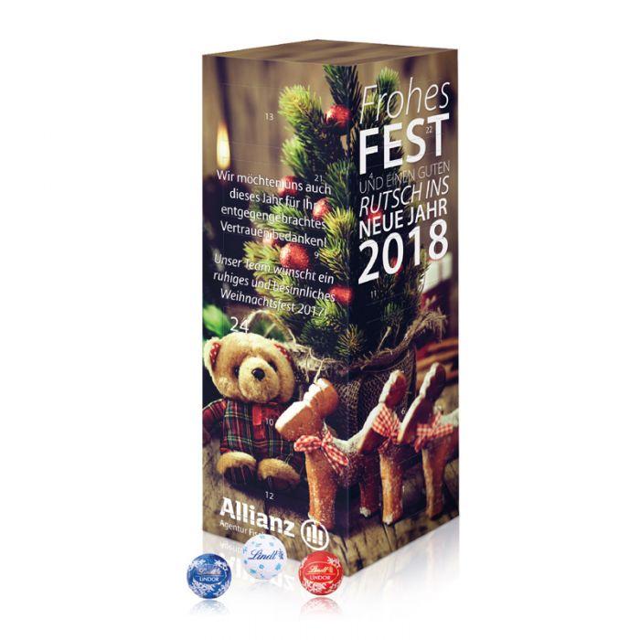 Lindor Weihnachtskalender.Adventskalender Lindor Turm Mit Werbedruck