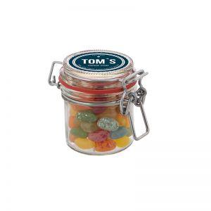 0,13 l Weckglas befüllt mit Jelly Beans und mit Werbeetikett