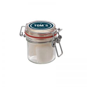 0,13 l Weckglas befüllt mit Marshmallows und mit Werbeetikett