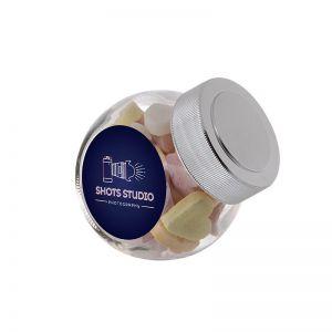 0,2 Liter Schräghalsglas befüllt mit Fruchtherzen und mit Werbeetikett