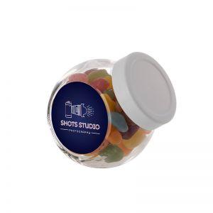 0,2 Liter Schräghalsglas befüllt mit Jelly Beans und mit Werbeetikett