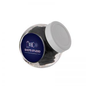 0,2 Liter Schräghalsglas befüllt mit Lakritzmünzen und mit Werbeetikett
