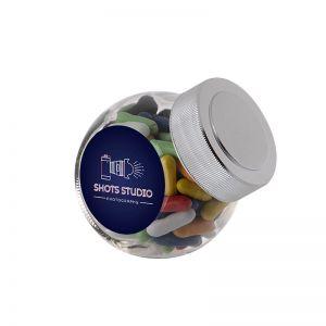 0,2 Liter Schräghalsglas befüllt mit Lakritzstäbchen und mit Werbeetikett