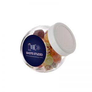 0,2 Liter Schräghalsglas befüllt mit Tum Tum und mit Werbeetikett