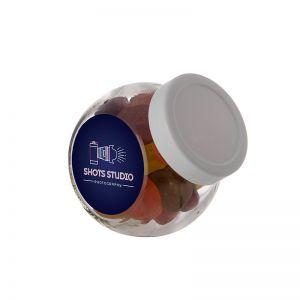 0,2 Liter Schräghalsglas befüllt mit Winegums und mit Werbeetikett