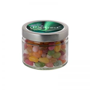 0,22 l Glastiegel befüllt mit Jelly Beans und mit Werbeetikett
