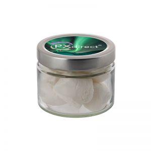 0,22 l Glastiegel befüllt mit Marshmallows und mit Werbeetikett