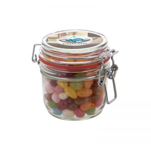 0,25 l Weckglas befüllt mit Jelly Beans und mit Werbeetikett