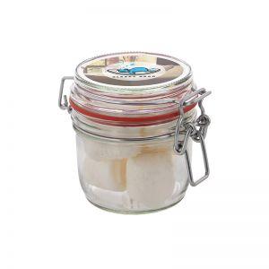 0,25 l Weckglas befüllt mit Marshmallows und mit Werbeetikett