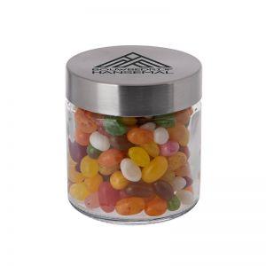 0,35 l Glastiegel befüllt mit Jelly Beans und Werbedruck